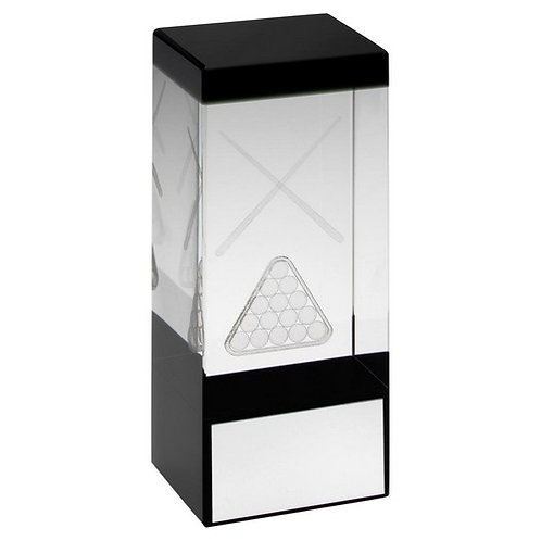 Clear/Black Glass Block With Lasered Pool/Snooker Image Trophy - 140 mm