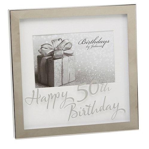 "Photoframe | 50th Birthday |  6 x 4"" | Mirror Print  | Free Engraving"