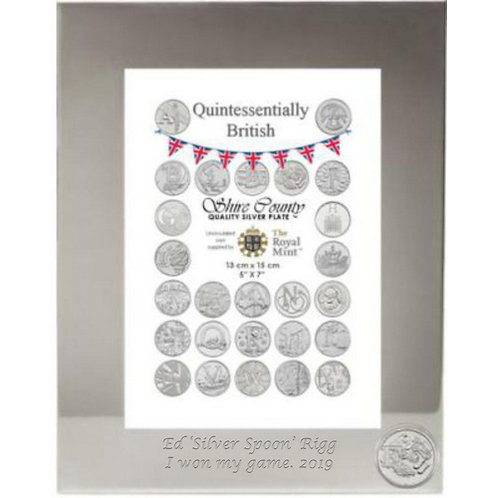 Photo Frame with British Coin | English Breakfast| Letter E | Free Engraving