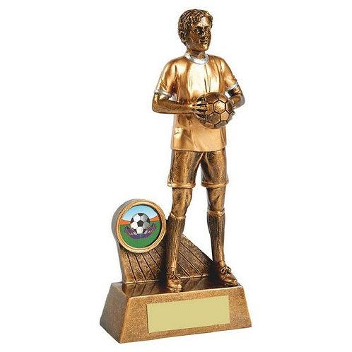 Antique Gold Standing Male Footballer Resin - 185mm