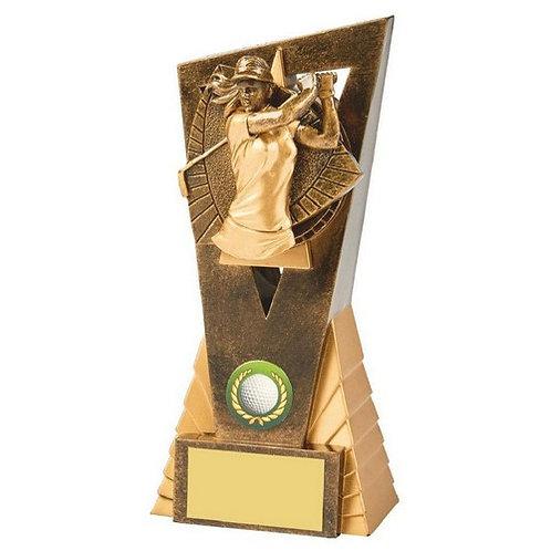 Antique Gold Female Golf Edge Award - 180mm
