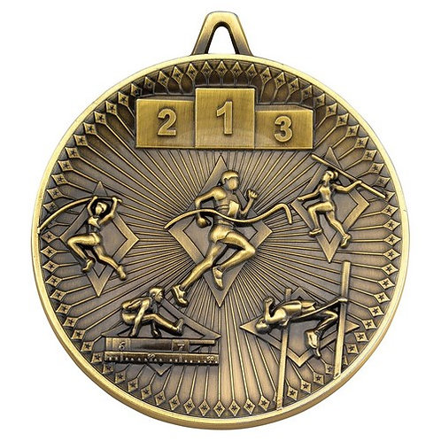 Athletics Deluxe Medal Antique Gold - 60 mm
