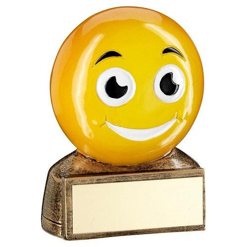 Brz/Yellow 'Smiling Emoji' Figure Trophy - 70 mm