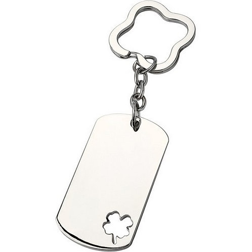 Be Lucky Four Leaf Clover ID Tag | Nickle | Free Engraving