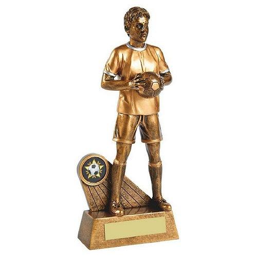 Antique Gold Standing Male Footballer Resin - 230mm