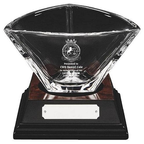Bohemia Crystalite Bowl on Wood Base - 145mm