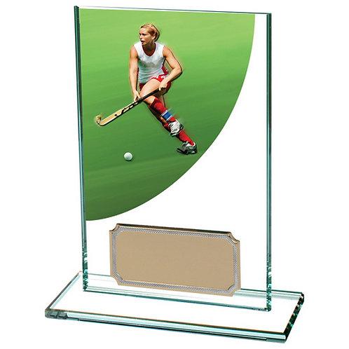 Colour Curve Hockey Jade Glass Award - 125mm