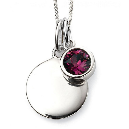 February Birthstone Pendant with engraved pendant