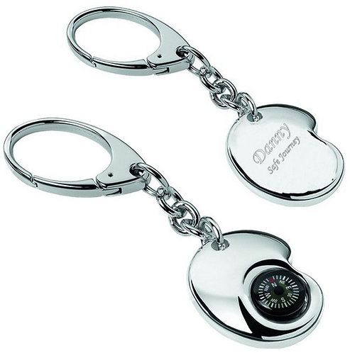 Life's Compass Key Chain | Silver Plate | Free Engraving