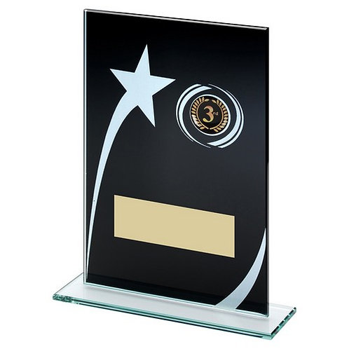 Black/White Printed Glass Plaque With Shooting Star Trophy - 203 mm