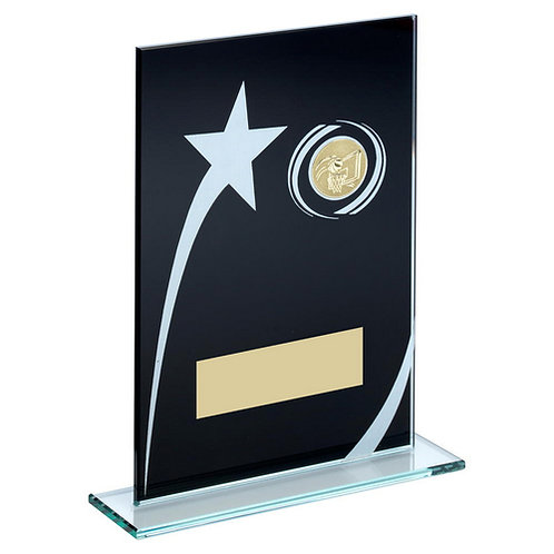 Black/White Printed Glass Plaque With Basketball Insert Trophy - 184 mm