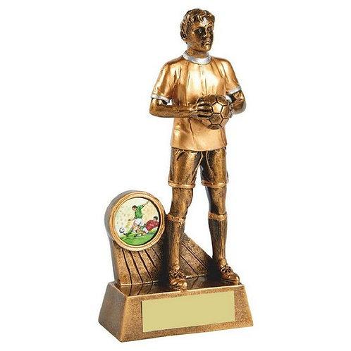 Antique Gold Standing Male Footballer Resin - 165mm