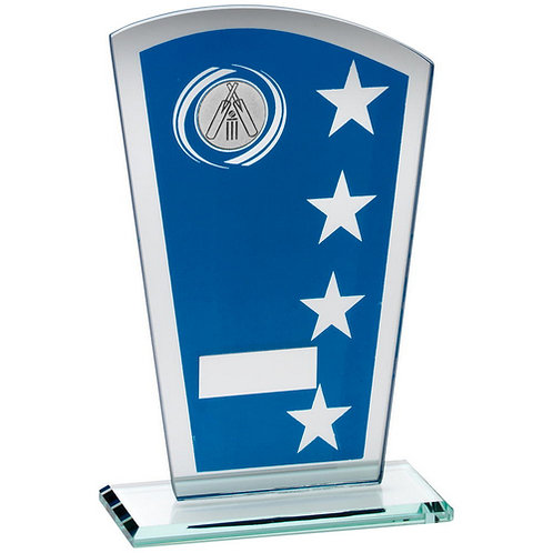 Blue/Silver Printed Glass Shield With Cricket Insert Trophy - 203 mm