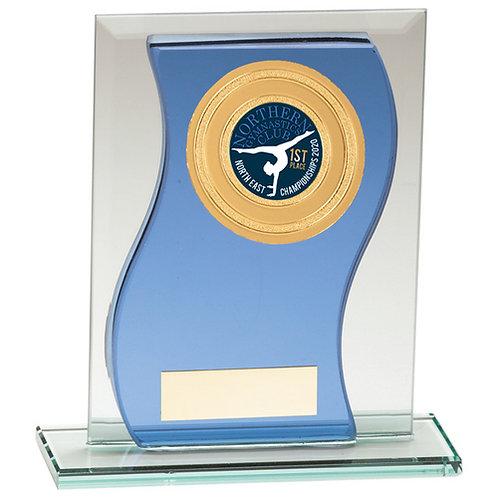 Azzuri Wave Multisport Mirror Glass Award Blue & Silver - 125mm