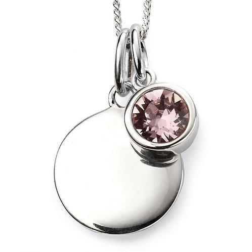 June Birthstone Pendant with engraved pendant