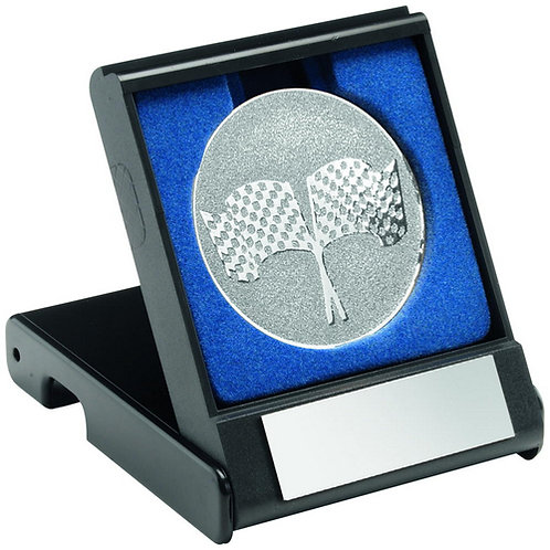 Black Plastic Box With Crossed Flags Insert Silver - 89 mm