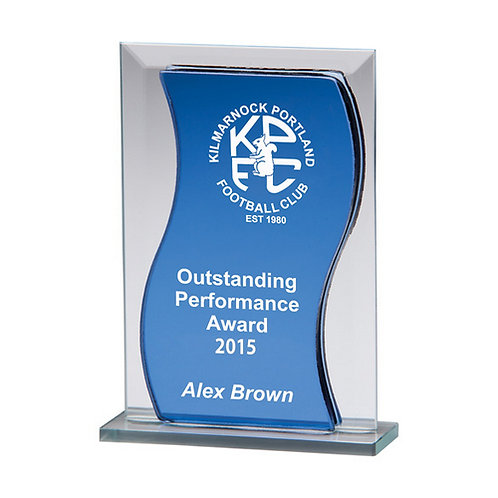 Azzuri Wave Mirror Glass Award Blue & Silver - 165mm