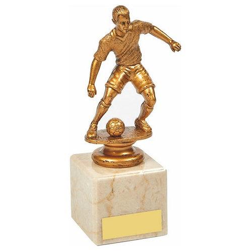 Antique Gold Male Footballer on Marble Column - 165mm