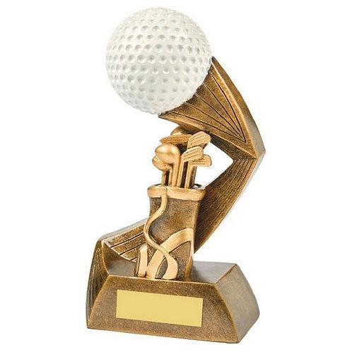 Antique Gold/White Golf Bag/Ball Resin - 180mm