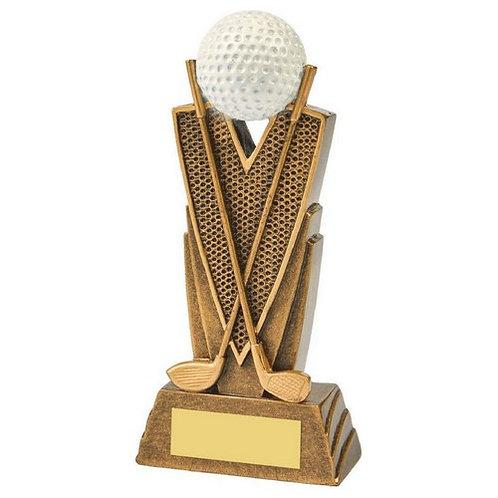 Antique Gold Golf Club/Ball Resin - 150mm