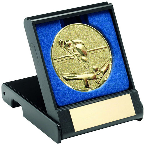 Black Plastic Box With Pool/Snooker Insert Trophy Gold - 89 mm