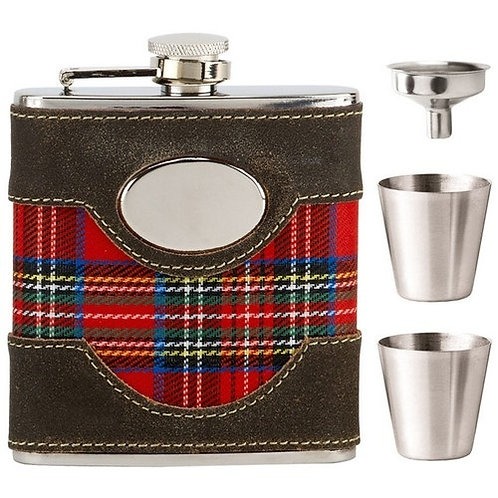 Hip Flask | Tartan Bound with Cups | 6oz  | Free Engraving