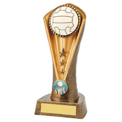 Antique Gold Netball Cobra Trophy - 190mm