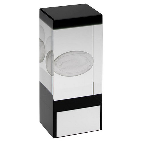 Clear/Black Glass Block With Lasered Rugby Image Trophy - 140 mm