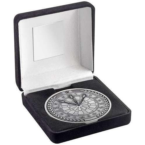 Black Velvet Box And 70mm Medallion Darts Trophy Antique Silver - 102 mm