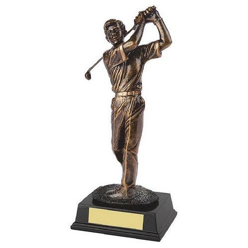 Antique Gold Resin Male Golfer  - 250mm