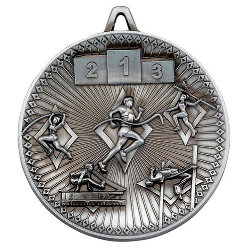 Athletics Deluxe Medal Antique Silver - 60 mm