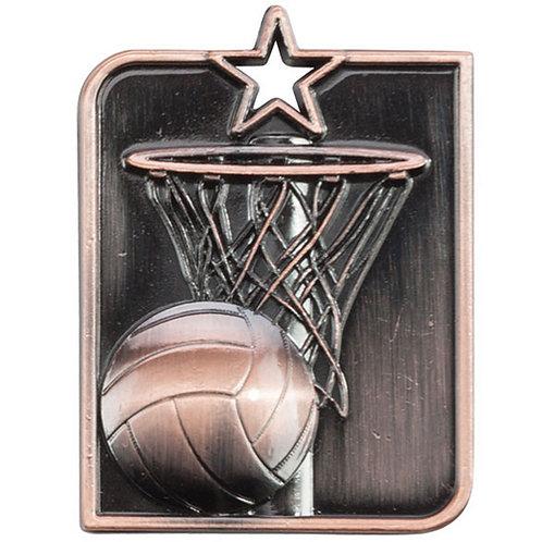 Centurion Star Series Netball Medal Bronze - 53x40mm