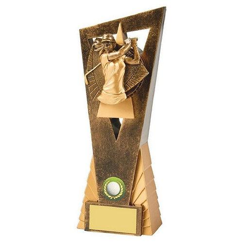 Antique Gold Female Golf Edge Award - 230mm