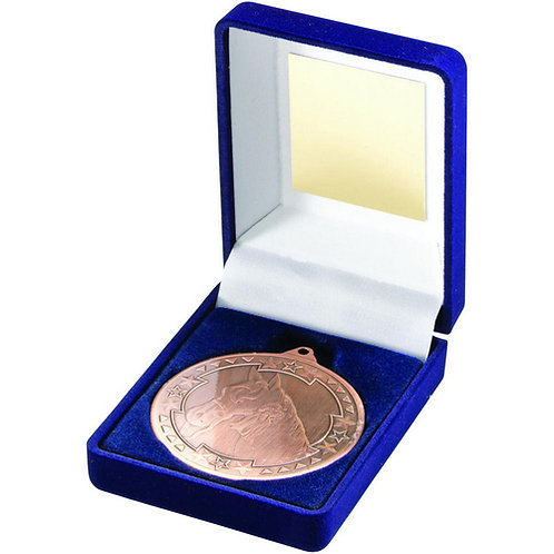 Blue Velvet Box And 50mm Medal Horse Trophy Bronze - 89 mm