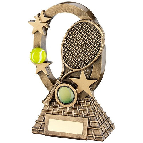 Brz/Gold/Yellow Tennis Oval/Stars Series Trophy - 184 mm