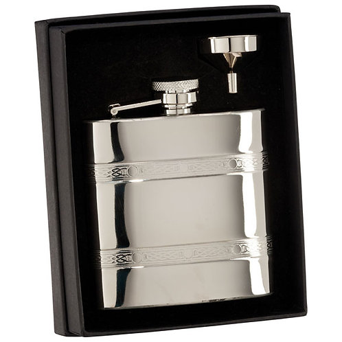 Celtic Polished Steel Flask| 6oz | Free Engraving