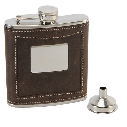 Hip Flask with Funnel | Brown Leather | Funnel | 6oz | Free Engraving