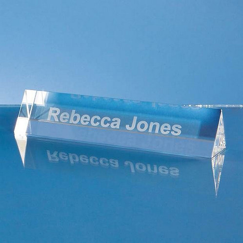 Optical Crystal Name Plaque | Free Engraving
