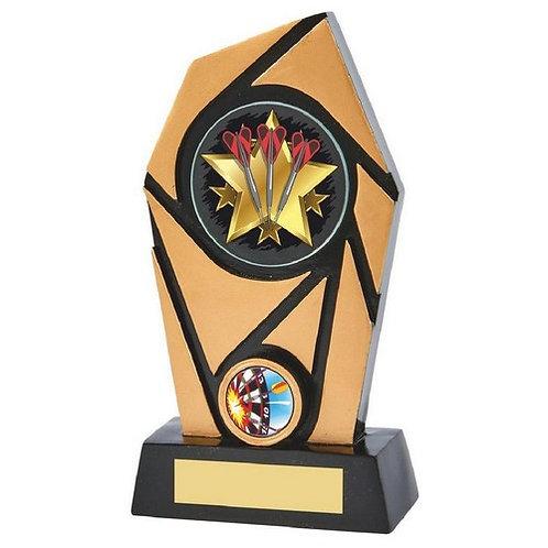 Black/Gold Resin Darts Trophy - 180mm