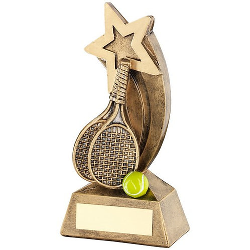 Brz/Gold/Yellow Tennis Rackets/Ball With Shooting Star Trophy - 146 mm