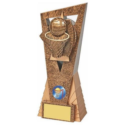 Antique Gold Netball Edge Trophy - 210mm