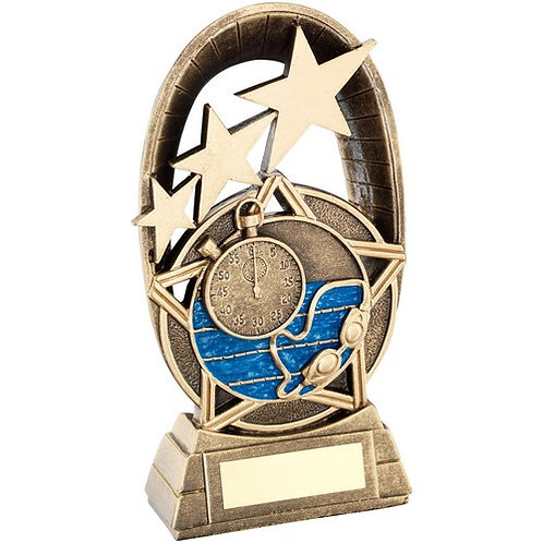 Brz/GoldSwimming Tri Star Oval Plaque Trophy - 165 mm