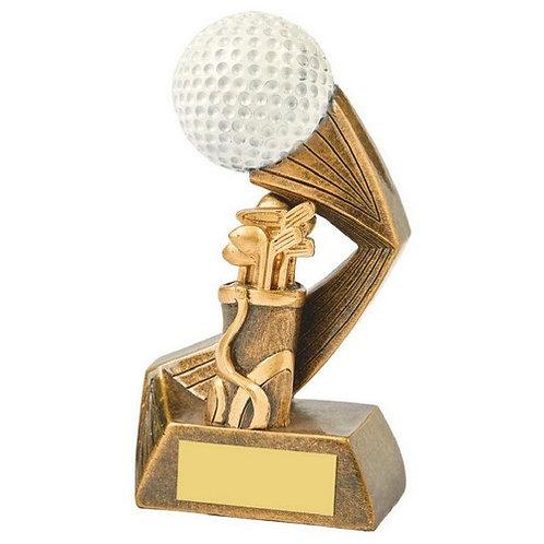 Antique Gold/White Golf Bag/Ball Resin - 135mm