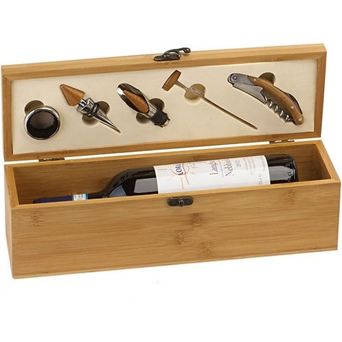 Wine Box | Bamboo Wood | 4 Tools | Excludes Wine  | Free Engraving