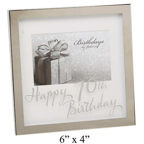 "Photoframe | 70th Birthday |  6 x 4"" | Mirror Print | Free Engraving"