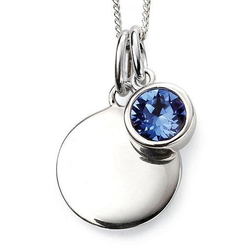 September Birthstone Pendant with engraved pendant