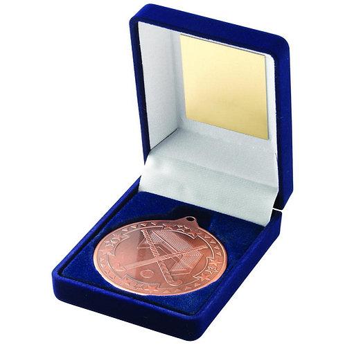 Blue Velvet Box And 50mm Medal Hockey Trophy Bronze - 89 mm