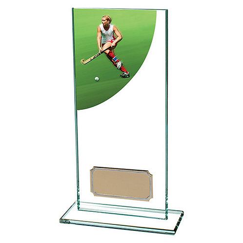 Colour Curve Hockey Jade Glass Award - 180mm