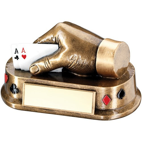 Brz/Gold/Multi Cards Hand Trophy - 89 x 165 mm