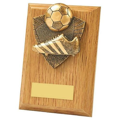 Boot/Ball Wood Plaque Award - 130mm